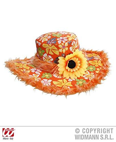 Sonnenblumen Hut (HUT - IBIZA - orange, mit Plüschrand und)