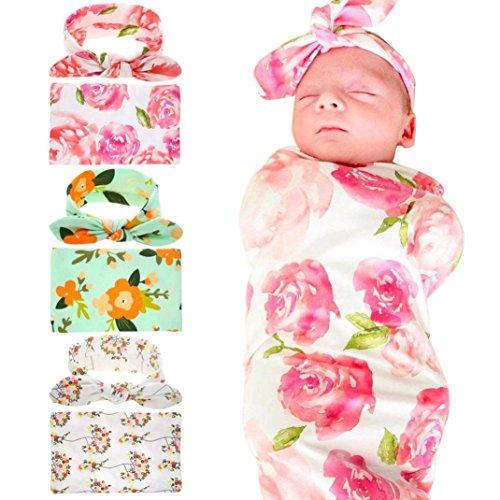 HKFV Neugeborenes Kind-Baby-Swaddle Decke Schlafen Swaddle Musselin Wrap Stirnband Set Babyschlafsack Wickeldecke (Rosa)