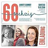 60 x Einladungskarten runder Geburtstag 60 Jahre Geburtstagseinladungen - Foto Zeitstrahl