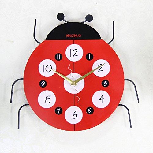 Wanduhr Seven-Spot Marienkäfer Cartoon Mode kreative Wanduhr Persönlichkeit Stumm Uhr Kinderzimmer Wanduhr Charts (Powersport Spot)
