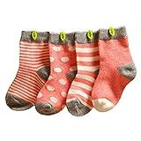 Happy Cherry Vintage Baby Mädchen 4 Paar Socken Set Weich Baumwolle Süß und Lieblich - Rosa Gepunkt Gestreift 6-12 Monate