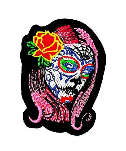 Rot Rose Sugar Skull Zombie Ghost Tag sterben der Todesstrafe, Love never, Rockabilly Rider Biker Wolfskopf-Motiv Patch Hand bestickt und Bügelbild Symbol Jacke T-Shirt patches aufnäher - Sugar Halloween-look Skull