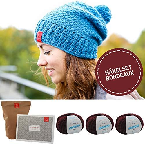 MyOma Häkeln Set Mütze * DIY Häkelset Casual Chic* Häkeln Mütze Set rot - Mütze zum Häkeln - 3X Merinowolle +Anleitung zum Häkeln + GRATIS Label -Häkel-Packet