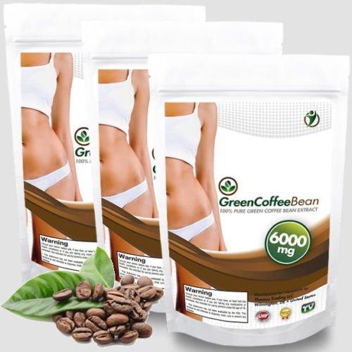 360 Kapseln Green Coffee Bean Extrakt a 6000mg - 50% Chlorogensäure - ausreichend 120 Tage Kur - schnelle natürliche Gewichtsabnahme mit 100% Grüne Kaffeebohnen - Premium Qualität