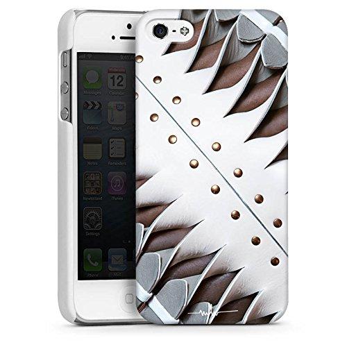 Apple iPhone 5 Housse étui coque protection Boucle Cuir Bandes CasDur blanc