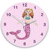 Girls Clock, Pink Clock, Girls Room Clock, Maisy the Mermaid Clock, Kids Clocks