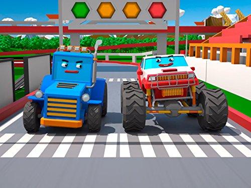 Blauer Traktor und Monster Truck