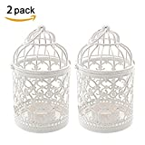 Ciaoed Birdcage Style Hollow Pattern Iron Candlestick Creative Carve Pattern Arts Candle Holder for Home Decoration Party Wedding Package of 2(A)