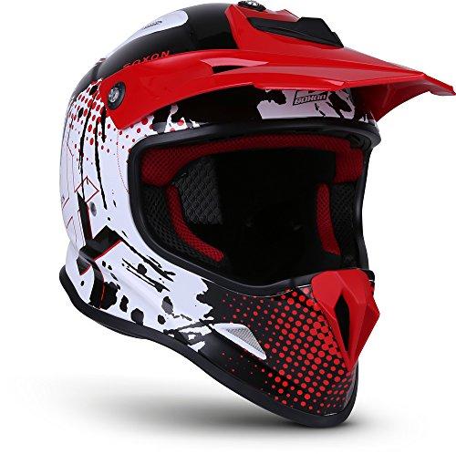 "Soxon® SKC-33 \""Fusion White Red\"" · Kinder-Cross-Helm · Motorrad-Helm MX Cross-Helm MTB BMX Cross-Bike Downhill Off-Road Enduro-Helm Moto-Cross Quad · ECE Schnellverschluss SlimShell Tasche S (53-54cm)"