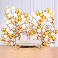 Supchamp Balloon Garland Arch Kit, 100 PCS White, Gold Confetti, Sliver and Metallic Gold Latex Balloons Set with Garland Making Accessories for Wedding Birthday Party Decorations