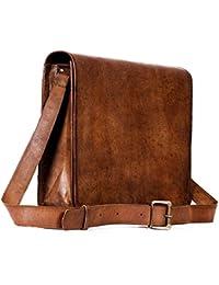 Vintage Handmade 13 Inch Leather Satchel Messenger Bag For Boy/girl/man/woman/unisex - B078ZYT1N5