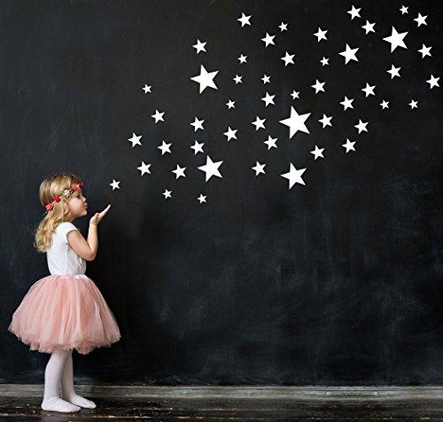 50 Sterne Wandtattoo fürs Kinderzimmer - Wandsticker Set - Pastell Farben, Baby Sternenhimmel zum Kleben Wandaufkleber Sticker Wanddeko - Wandfolie, Kleinkinder, Erstausstattung auf Rauhfaser Weiß - Kleinkind-mädchen-wand-spiegel