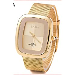 QBD Womens Gift Boxed Luxury 3ATM Waterproof Japanese quartz Movement Mesh Steel Strap Gold Watch FREE luxury gift box