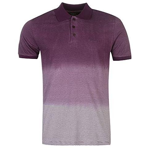 Pierre Cardin Herren Dip Dye Polo Shirt Gestreift Kurzarm Polohemd Pflaume/weiss UK Large