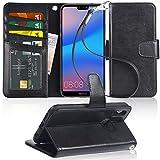 Huawei P20 Lite Hülle, Arae schwarz aus Leder zum Klappen mit Karten- und Geldfach, mit Kick-Stand zum Aufstellen, Magnetverschluss