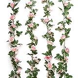 Jinway Ghirlanda di fiori artificiali con finti tralci di rose, decorazione per hotel, matrimonio, casa, feste, giardino, lavori di artigianato, 4,9 m, colore rosa, confezione da 2 pezzi