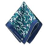 VON FLOERKE Handrollierte Einstecktuch 100% Seide – 30x30cm – mit Camouflage Muster – Dunkelblau – hochwertige Kavalierstücher/Pochette für Herren