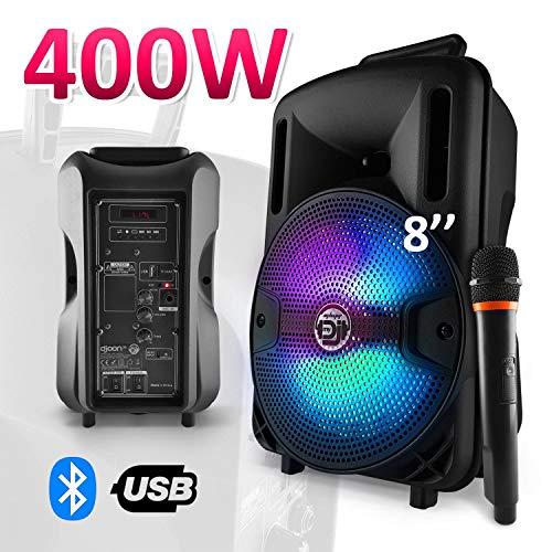 Enceinte karaoké batterie sono 400W 8' LED USB/SD/BLUETOOTH + Mic - MyDJ DJOON08
