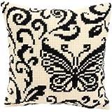 Vervaco 1200/941 - Kit de punto de cruz para cojín (40 x 40 cm, diseño de mariposa, tela impresa), color blanco y negro