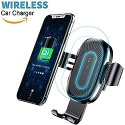 Baseus Chargeur sans Fil Voiture,Chargeur Auto sans Fil à Induction, Qi Air Vent Mount Voiture Chargeur Induction avec 2 Pinces pour iPhone X / 8/8 Plus, Samsung Galaxy S8 / S8 Plus/ S7/ S7 Edge/ S6 Edge/Note 5