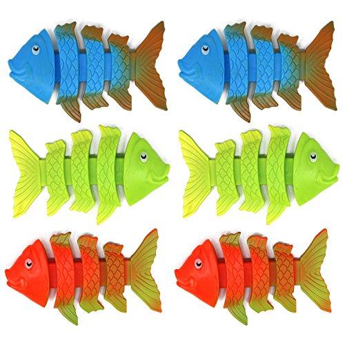 com-four® 6X Tauchspielzeug als Fisch in Verschiedenen Farben, Tauch-Set zum Tauchen Lernen für Kinder (06 Stück - Fisch)