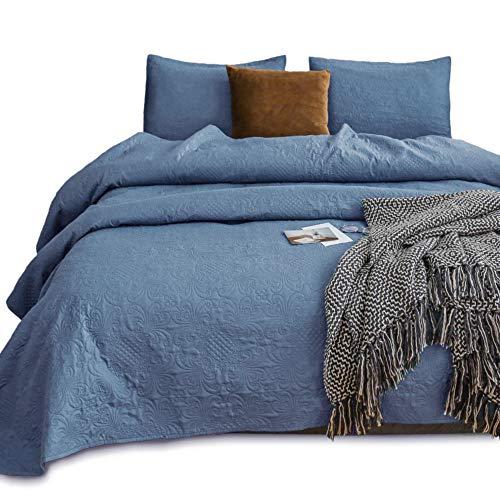 kasentex gesteppt Überwurf set-pre washed-luxury Mikrofaser weich warm bedding-solid Farben bedspread-royal Floral Traditionelle Design & Modernes Design QUEEN + 2 Shams Blue Turquoise (Floral Design) -