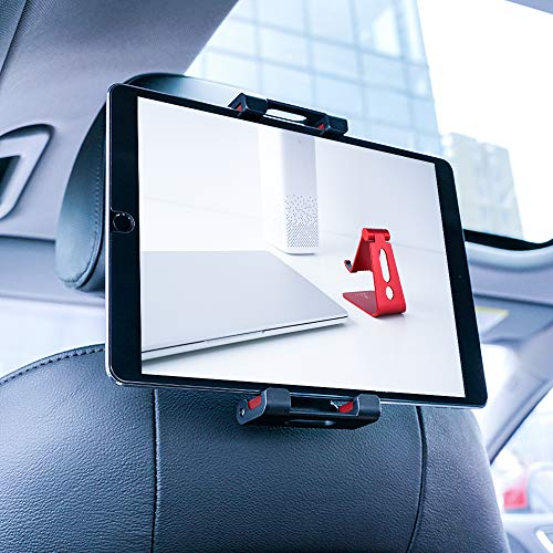 Lamicall Tablet Halterung Auto, Universal Tablet Halterung : KFZ-Kopfstützen Halterung für Pad Air Mini 2 3 4, Pad 2018 Pro 9.7, 10.5, Tab, Smartphone und Tablet mit 4.7~13 Zoll - Rot