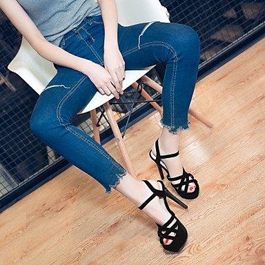 LvYuan Da donna-Sandali-Ufficio e lavoro Formale Serata e festa-Club Shoes-A stiletto-Felpato-Nero Blu Rosso Red