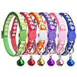 BINGPET 6PCS Adjustable Breakaway Cat Collars with Bell for Puppy Kitten with Safety Quick Release Buckle