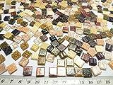 Happy-Mosaic Glas Mosaiksteine Braun Mix mit Goldregeneffekt im Format 1x1cm, 500g lose Glas Steinchen zum Basteln