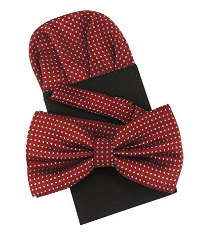 Set mit Fliege und Einstecktuch-Karte für Herren, luxuriöser Stil für vornehme Hochzeiten, dezentes Punktmuster, erhältlich in über 20Farben Gr. onesize, rot / ()