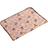 Generic Warm Tan Cartoon Paw Print Cushion for Puppy Fleece Soft Blanket Bed Mat--S