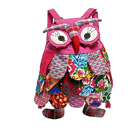 Nicetage Enfant 3D Mignon Animal Hibou Chouette Ethnique National Voyage Sac à Dos Cartable Sac à Main pour Bébé de Jardin d'enfants Petit Garçons Filles (Rose foncé)