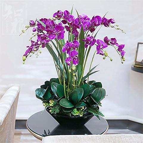 Fiori Artificiali Set per Hotel matrimonio decorazioni FESTE in casa?Emulazione Fiore Vaso Phalaenopsis Boutonniere Set, colore: malva un bacino nero