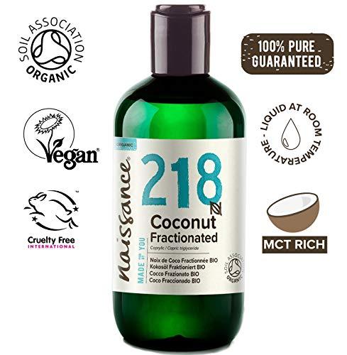 Naissance Aceite Vegetal de Coco Fraccionado BIO n. º 218-250ml - Puro, natural, vegano, sin hexano, no OGM - Ideal para aromaterapia, masajes y recetas artesanales.
