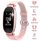 TechCode Multifunktions Fitness Tracker Uhr, Bluetooth Wasserdichte S3 Smart Uhr Mode Frauen Damen Pulsmesser Fitness Tracker Smart Uhr Für Android IOS (Roségold)