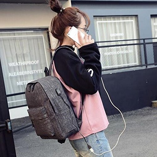 OURBAG Zaino della scuola della tela di canapa Borsa da viaggio per computer portatile con porta di ricarica USB Rosa Nero