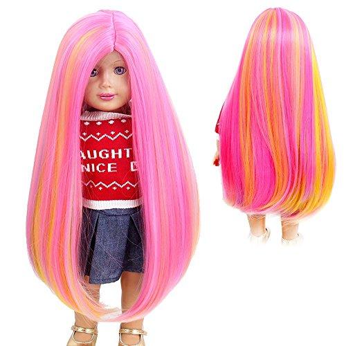 stfantasy American Girl Puppe Perücken Lange Gerade Ombre Medium Haar für 45,7cm Baby Puppe, 45,7cm Pink (Porzellan Kostüm Puppe)