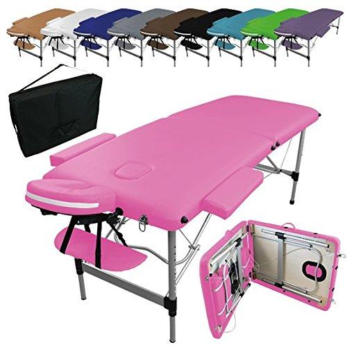 Linxor ® Mesa de masaje plegable 2 zonas de aluminio + accesorios...