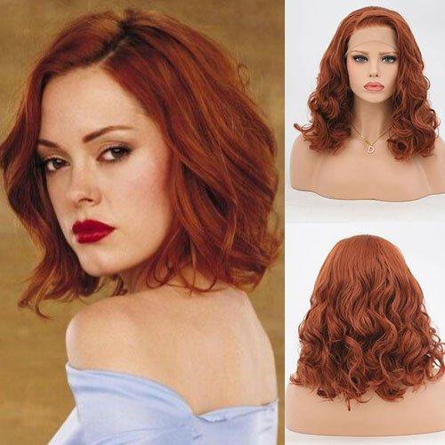 Blue Bird orange Farbe, synthetische Lace Front-Perücke Bob, halbe Hand gebunden, weiche Faser hitzebeständig Haar Perücken für Frauen 14cm