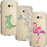 [3 Stück] Samsung Galaxy A5 2017 Hülle, Blossom01 Cute Funny Kreative Cartoon Transparent Silikon Bumper für Samsung Galaxy A5 2017 - Krokodil & Elefant Blumen & Flamingo
