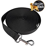 Dog Leads Training Leash for Camping Tracking Training Obedience Backyard Play 10m 33ft Long Nylon (Black)