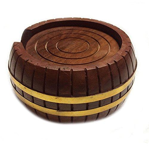 IndiaBigShop Hölzerner Tee-Untersetzer, Barell-Form-Halter mit Goldener Farbe Stip, Untersetzer-Halter, Ostern-Tag/Mutter-Tag/Karfreitag-Geschenk -