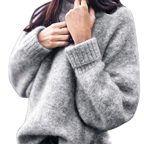 Frauen Strickpullover,Moonuy Frauen Mädchen lose Strickwaren Pullover Casual Langarmshirts tägliche Pullover,damen pullover grau edc pullover,damen tarn pullover (Grau, EU 42 / Asien 2XL)