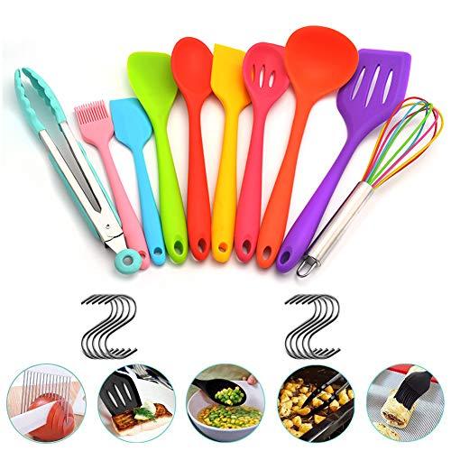 Atfung Set de utensilios de cocina de silicona de 10 piezas Herramientas de silicona antiadherente resistentes...