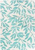 Carpetforyou Designer Kurzflor Teppich Mint Vine Minze grün-blau Creme in 4 Größen ideal für Wohnzimmer oder Schlafzimmer (160 x 230 cm)
