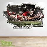 1Stop Graphics Shop Rugby Autocollant Mural 3D Look - Garçons Enfants Angleterre Chambre Sport Autocollant Mural z652 - Large: 70 cm x 111 cm