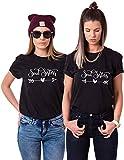 Couples Shop Best Friends T-Shirt mit Soul Sisters Aufdruck für Zwei Damen Mädchen Sommer Oberteil Geburtstagsgeschenk 2 Stücke Partnerlook Kurzarm Tops (Schwarz + Schwarz, S + S)