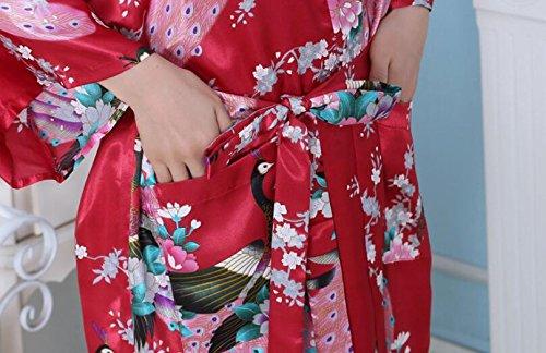 LJ&L Signore di estate veste la simulazione di seta di comfort kimono da bagno abiti traspiranti breve paragrafo di moda di seta pigiama abito,red,M Red