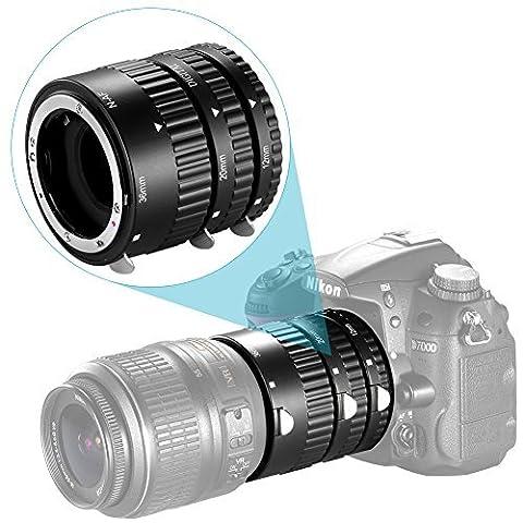 Neewer® 12mm, 20mm, 36mm AF Auto Focus ABS Set de tubes d'extension pour Nikon appareils photo réflex numériques tels que D7200, D7100, D7000, D5300, D5200, D5100, D5000, D3300, D3200, D3000, D40, D40x, D100, D200, D300, D3, D3s, D700, D90